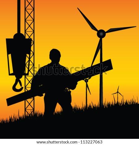 construction worker builds windmills vector illustration on a color background - stock vector