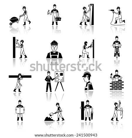 Construction worker cartoon character building brick wall with trowel