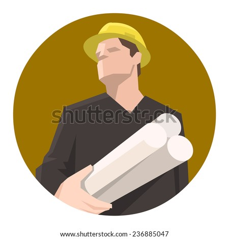 Construction worker, engineer or architect holding projects blueprints - stock vector