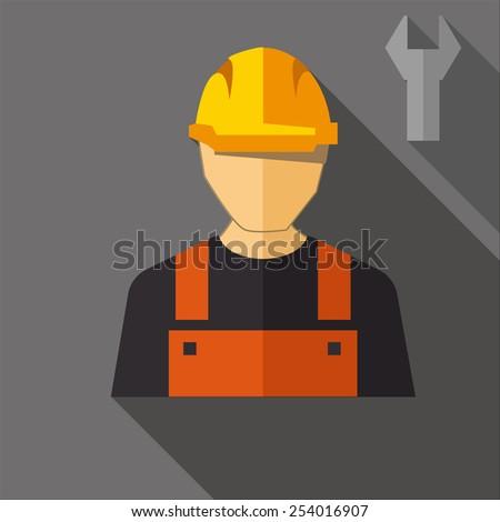 Construction worker. FLAT DESIGN - stock vector