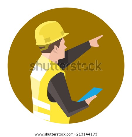Construction worker holding a clipboard and pointing or showing something - stock vector
