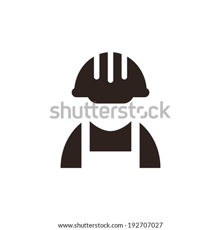 Construction worker icon isolated on white background - stock vector