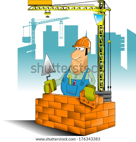 construction worker in blue jumpsuit and yellow helmet, vector and illustration - stock vector