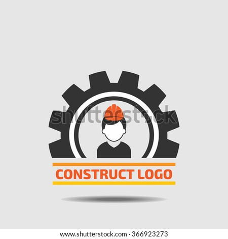 Construction worker in cog gear : Construct building logo on white background : icon vector: Industrial working industry concept. - stock vector