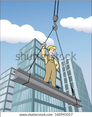 Construction worker on a steel beam being lifted up by a crane with skyscrapers and clouds in background, cartoon comic style - stock vector