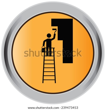 Construction, worker, painter, icon, black, sign - stock vector