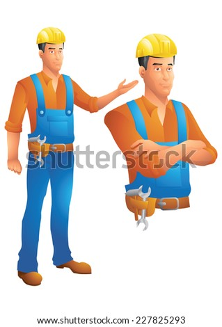 Construction worker standing presenting and bust with arms crossed - stock vector