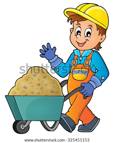 Construction worker theme image 1 - eps10 vector illustration. - stock vector