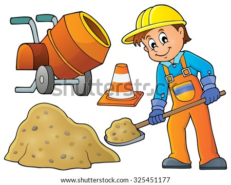 Construction worker theme image 5 - eps10 vector illustration. - stock vector