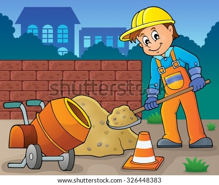 Construction worker theme image 6 - eps10 vector illustration. - stock vector