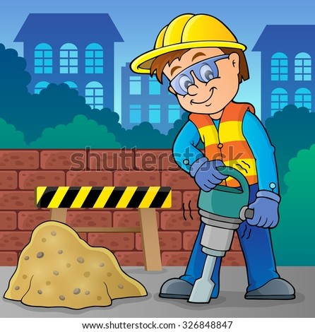 Construction worker theme image 8 - eps10 vector illustration. - stock vector