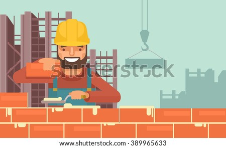 Construction worker. Vector flat illustration - stock vector