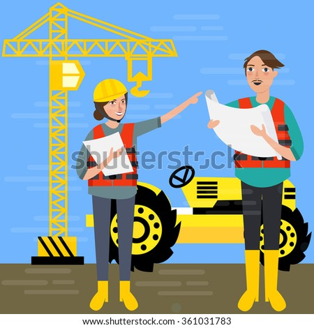 construction worker wearing helmet safety in front background crane tractor building - stock vector