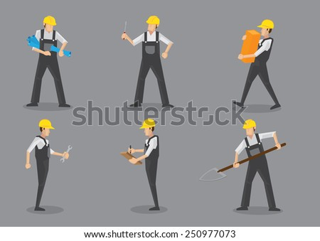 Construction worker wearing yellow helmet and overall work clothes working with different tools. Set of six vector character design isolated on grey background - stock vector