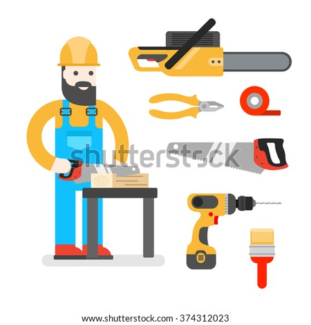Construction worker with saw. Man sawing a Board. Woodworker or joiner. Good builder in uniform. Service man. - stock vector