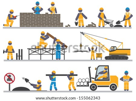 Construction workers. Vector for you design - stock vector