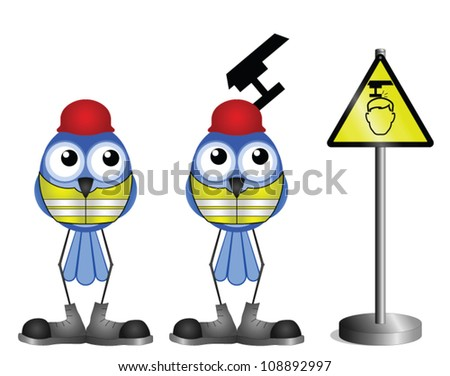 Construction workers with head warning sign isolated on white background - stock vector