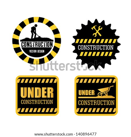 constructions seals over white background vector illustration - stock vector