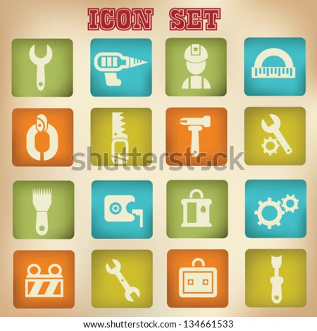 Constructor icons,building icons,vintage style,vector - stock vector