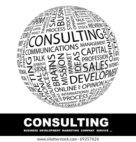 CONSULTING. Globe with different association terms. - stock vector