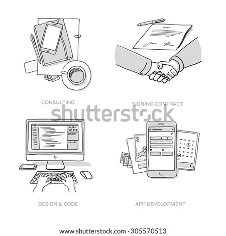 Consulting, Signing contract, Website design & coding, App development - set of hand drawn illustrations - stock vector