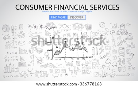 Consumer Financial Services concept with Doodle design style :finding solution, money spending, money investment. Modern style illustration for web banners, brochure and flyers. - stock vector