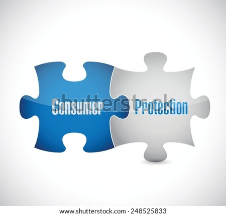 consumer protection puzzle pieces illustration design over a white background - stock vector