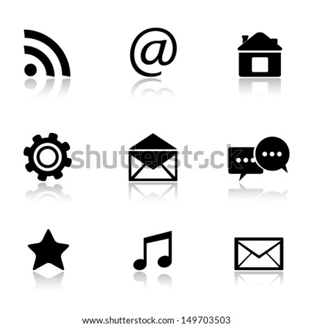 Contact and e-mail icons. - stock vector