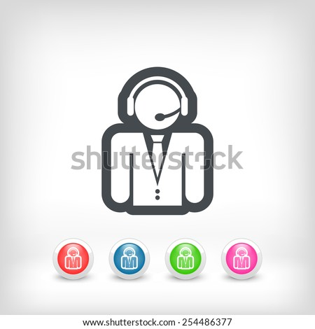 Contact assistance icon - stock vector