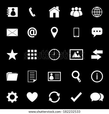 Contact icons on black background, stock vector - stock vector