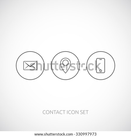 Contact  outline icon set.  Mobile phone, map pointer, mail.  - stock vector
