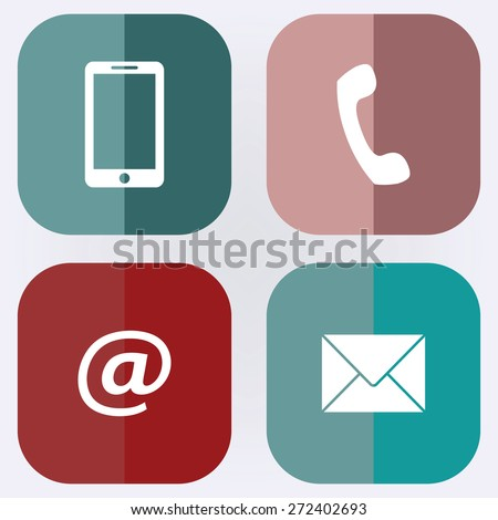 Contact set - email, envelope, phone, mobile icons . Flag icon,Vector illustration - stock vector