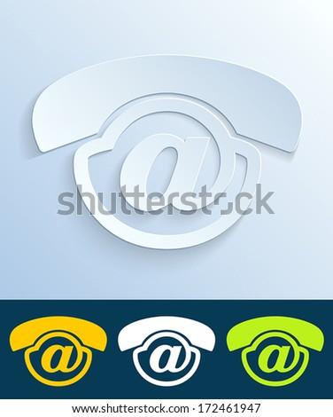 contact us button web design elemet - Voicemail icon design - stock vector
