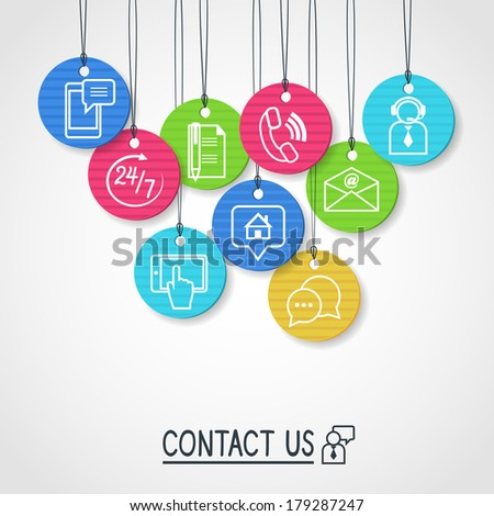 Contact us cardboard labels and tags set of email phone communication and representative person vector illustration - stock vector