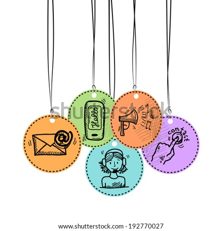 Contact us phone customer service user support hang tags sketch set vector illustration - stock vector
