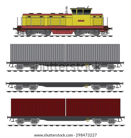 Container flat train  - stock vector