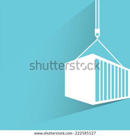 container in blue background, flat and shadow design - stock vector