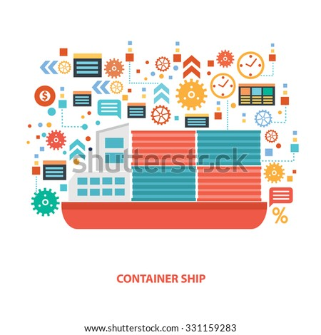 Container ship concept design on white background,clean vector - stock vector