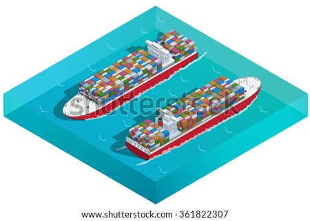 Container ship, Tanker or Cargo ship with containers icon. Flat 3d isometric high quality transport. Vehicles designed to carry large numbers of cargo.  - stock vector