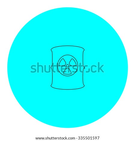 Container with radioactive waste. Black outline flat icon on blue circle. Simple vector illustration pictogram on white background - stock vector