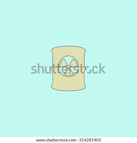 Container with radioactive waste. Flat simple line icon. Retro color modern vector illustration pictogram. Collection concept symbol for infographic, logo and project - stock vector
