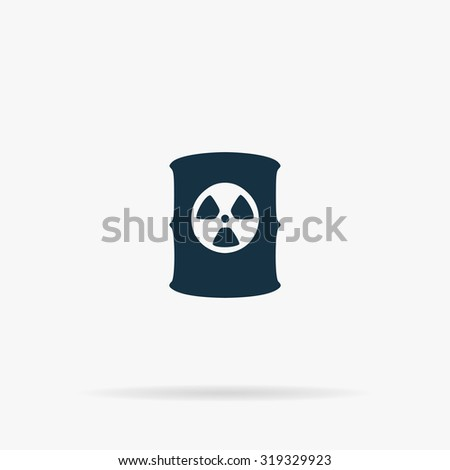 Container with radioactive waste. Flat vector web icon or sign on grey background with shadow. Collection modern trend concept design style illustration symbol - stock vector