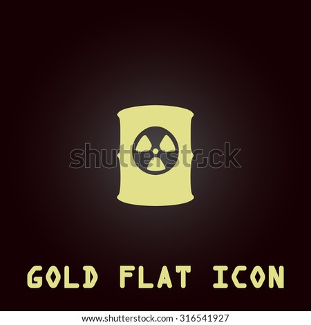 Container with radioactive waste. Gold flat vector icon. Symbol for web and mobile applications for use as logo, pictogram, infographic element - stock vector