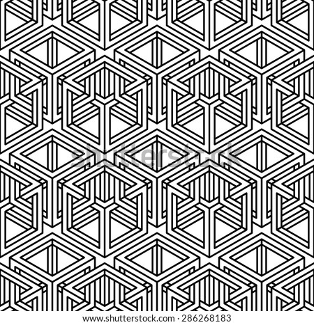 Contemporary abstract vector endless background, three-dimensional repeated pattern. Decorative graphic entwine ornament. - stock vector