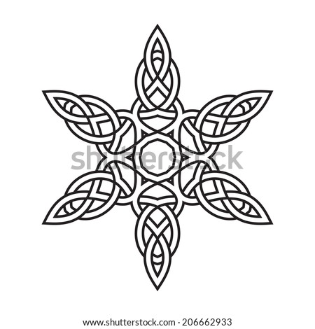 Contemporary celtic knot doily round lace floral pattern card, circle ...