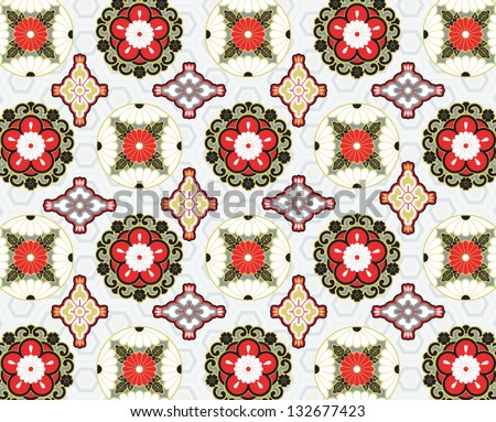Contemporary seamless pattern made from traditional Japanese motifs - stock vector