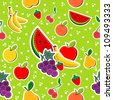 Contemporary sewing fruits seamless pattern. Vector illustration layered for easy manipulation and custom coloring. - stock vector