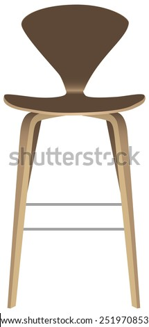 Contemporary stool with backrest on high legs. Vector illustration. - stock vector