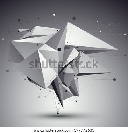 Contemporary techno black and white stylish construction, abstract dimensional background with connected lines. - stock vector