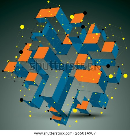 Contemporary technology colorful stylish futuristic construction, abstract 3d figure with connected lines and dots. - stock vector